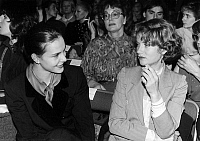 0137166 © Granger - Historical Picture ArchiveCAROLE BOUQUET AND ISABELLE HUPPERT.   Carole Bouquet and Isabelle Huppert at presentation of Louis Feraud collection january 26, 1983. Full credit: AGIP - Rue des Archives / Granger, NYC -- All Rights Reserved.