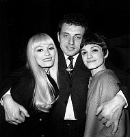 0137337 © Granger - Historical Picture ArchiveCATHERINE FRANCK, JACQUES MARTIN AND VETTY.   french actors Catherine Franck, Jacques Martin and Vetty after premiere of play Petipatapon april 26, 1967. Full credit: AGIP - Rue des Archives / Granger, NYC -- All rights reserved.