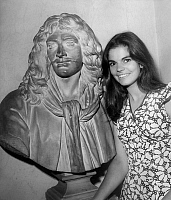 0137357 © Granger - Historical Picture ArchiveCATHERINE SALVIAT.   French comedian Catherine Salviat new resident member at Comedie Francaise near Moliere's bust, july 9, 1969. Full credit: AGIP - Rue des Archives / Granger, NYC -- All Rights Reserved.