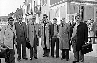 0137873 © Granger - Historical Picture ArchiveCHARLES PASQUA.   French politicians Andre Lajoinie, Rene Monory, Jean Pierre Fourcade, Etienne Mougeotte, Michel Crepeau, Claude Estier, Charles Pasqua in Paray Le Monial before debate organized by Europe 1 march 6, 1978. Full credit: AGIP - Rue des Archives / Granger, NYC -- All rights reserved.