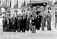 0138049 © Granger - Historical Picture ArchiveCHEFS D'ENTREPRISES NATIONALISEES.   Meeting of heads of a companies nationalized with Mr Pierre Mauroy (Prime Minister), Pierre Dreyfus (minister of Industry)et Mr Jacques Delors (minister of Economy Finance and Budget) at Matignon 02/23/1982 Neg:CX14350. Full credit: AGIP - Rue des Archives / Granger, NYC -- All Rights Reserved.