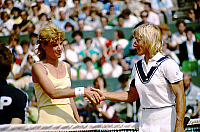 0138109 © Granger - Historical Picture ArchiveCHRIS EVERT LLOYD AND MARTINA NAVRATILOVA.   Chris Evert Lloyd (winner) and Martina Navratilova at finale of Roland Garros, Paris, 1986. Full credit: AGIP - Rue des Archives / Granger, NYC -- All Rights Reserved.