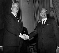 0138111 © Granger - Historical Picture ArchiveCHRISTAIN FOUCHET AND ROGER FREY.   Christain Fouchet (l) shaking hands with his predecessor at the post of Interior minister Roger Frey, at the Interior ministry in Paris, april 11, 1967. Full credit: AGIP - Rue des Archives / Granger, NYC -- All Rights Reserved.