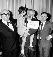 0138340 © Granger - Historical Picture ArchiveCLAUDE BERRI.   French director Claude Berri received fraternity prize for his film The Old Man and the Boy aka The Two of Us, here with Marcel Achard president of the jury and actors of the film young Alain Cohen and Michel Simon may 4, 1967. Full credit: AGIP - Rue des Archives / Granger, NYC -- All Rights Reserved.