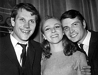 0138376 © Granger - Historical Picture ArchiveCLAUDE BROSSET CHRISTINE FERSEN AND ALAIN PRALON.   l-r : french comedians Claude Brosset, Christine Fersen and Alain Pralon after they won prize at theatre academy, june 29, 1965. Full credit: AGIP - Rue des Archives / Granger, NYC -- All Rights Reserved.