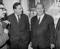 0138504 © Granger - Historical Picture ArchiveCLAUDE JEAN PHILIPPE AND ROBERTO ROSSELLINI.   Director Roberto Rossellini in french film archive for presentation of L'age du fer, with Claude Jean Philippe on february 26, 1966. On the right is Henri Langlois, manager of the french archive film. Full credit: AGIP - Rue des Archives / Granger, NYC -- All Rights Reserved.