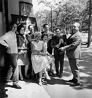 0138548 © Granger - Historical Picture ArchiveCLAUDE NOUGARO.   french actors and singers Michel Lucky, Serge Lifar, Anne Flore, Renee Gilbert, Charles Dumont, Claude Nougaro and Pierre Spiers before charity show for formers comedians may 31, 1963. Full credit: AGIP - Rue des Archives / Granger, NYC -- All rights reserved.