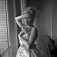 0138670 © Granger - Historical Picture ArchiveCOCCINELLE.   Coccinelle, transsexual comedian and singer (Jacques-Charles Dufresnoy) during fitting of her wedding dress march 13, 1962. Full credit: AGIP - Rue des Archives / Granger, NYC -- All Rights Reserved.