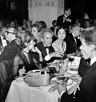 0138688 © Granger - Historical Picture ArchiveCOCTEAU AND WEISWEILLER.   Jean Cocteau with friend Francine Weisweiller and Ludmilla Tcherina at the restaurant december 10, 1959. Full credit: AGIP - Rue des Archives / Granger, NYC -- All Rights Reserved.