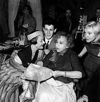 0138746 © Granger - Historical Picture ArchiveCOLETTE.   French writer Colette with actors of film The Game of Love on july 16, 1953 : Edwige Feuillere, Pierre Michel Beck and Nicole Berger. Full credit: AGIP - Rue des Archives / Granger, NYC -- All rights reserved.