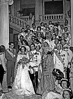 0139020 © Granger - Historical Picture ArchiveCONSTANTIN OF GREECE.   Wedding of Princess Anne Marie of Denmark and king Constantine II of Greece september 18, 1964 behing them king Baudouin of Belgium, king Gustav Adolf , queen Fabiola, king Hussein of Jordan, prince Rainier III of Monaco, Juan Carlos of Spain. Full credit: AGIP - Rue des Archives / Granger, NYC -- All rights reserved.