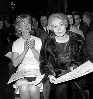 0139115 © Granger - Historical Picture ArchiveCORA VAUCAIRE AND FRANCINE CAMUS.   French actress Cora Vaucaire and Francine Camus receiving Song Prize march 10, 1966. Full credit: AGIP - Rue des Archives / Granger, NYC -- All Rights Reserved.