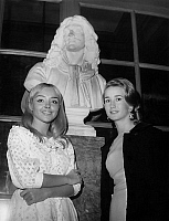 0139127 © Granger - Historical Picture ArchiveCORINNE THE POULAIN AND BRIGITTE FOSSEY.   French comedians Corinne Le Poulain and Brigitte Fossey at conservatoire of theatre october 24, 1966. Full credit: AGIP - Rue des Archives / Granger, NYC -- All rights reserved.