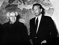 0139267 © Granger - Historical Picture ArchiveDAG HAMMARSKJOLD.   swedish Dag Hammarskjold, UNO general secretary, here with israeli prime minister Ben Gourion in Israel during official visit to try and find a solution to the conflicts between Israel and neighbouring countries january 28, 1956. Full credit: AGIP - Rue des Archives / Granger, NYC -- All Rights Reserved.
