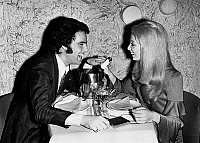 0139603 © Granger - Historical Picture ArchiveDAVID ALEXANDRE WINTER.   David Alexandre Winter congratulated by his fiancee Chantal having champagne diner in restaurant march 24, 1970. Full credit: AGIP - Rue des Archives / Granger, NYC -- All Rights Reserved.