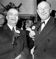0139644 © Granger - Historical Picture ArchiveDE FUNES AND BOURVIL.   french actors Louis de Funes et Bourvil at premiere of film Don't Look Now - We're Being Shot at december 08, 1966 - badge. Full credit: AGIP - Rue des Archives / Granger, NYC -- All rights reserved.