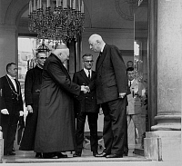 0139717 © Granger - Historical Picture ArchiveDE GAULLE AND MONSEIGNEUR FELTIN.   French president Charles De Gaulle has given the insignia of officer of legion of honour to cardinal Maurice Feltin at the Elysee palace in Paris, for his behaviour during 1st world war. Full credit: AGIP - Rue des Archives / Granger, NYC -- All rights reserved.