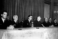 0139730 © Granger - Historical Picture ArchiveDE GAULLE, 1963.   l-r Alain Peyrefitte, Roger Frey (minister of Interior), french president Charles De Gaulle, Louis Joxe (minister of algerian Affairs), Valery Giscard d'Estaing and Michel Habib Deloncle (secretary of State for foreign affairs in 1962-1966) november 19, 1963 at the time of war in Algeria. Full credit: AGIP - Rue des Archives / The Gran
