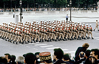 0139798 © Granger - Historical Picture ArchiveDEFILE DU 14 JUILLET.   parade of the french Foreign Legion on the Champs Elysees avenue in Paris on Bastille-day july 14, 1987. Full credit: AGIP - Rue des Archives / Granger, NYC -- All Rights Reserved.
