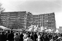 0139864 © Granger - Historical Picture ArchiveDEMOLITION OF 4000 A THE COURNEUVE.   Demolition with explosives of a council flat in La Courneuve, France, february 18, 1986. Full credit: AGIP - Rue des Archives / Granger, NYC -- All Rights Reserved.