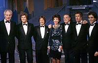 0139878 © Granger - Historical Picture ArchiveDENISE FABRE.   french TV presenters Jean Amadon, Patrick Sebastien, Patrick Sabatier, Denise Fabre, Leon Zitrone, Stephane Collaro, Claude Seiller november 1985. Full credit: AGIP - Rue des Archives / Granger, NYC -- All rights reserved.