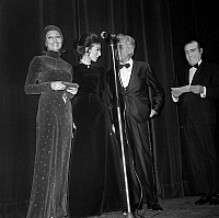 0139888 © Granger - Historical Picture ArchiveDENISE FABRE.   Nuit du Cinema (movie prize giving) in Paris on december 18, 1970: Denise Fabre, Claude Dauphin and Pierre Louis. Full credit: AGIP - Rue des Archives / Granger, NYC -- All Rights Reserved.