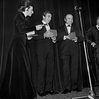 0139895 © Granger - Historical Picture ArchiveDENISE FABRE, LINO VENTURA AND HENRI VERNEUIL.   Nuit du Cinema (movie prize giving) in Paris on december 18, 1970: Denise Fabre giving an award to Lino Ventura and Henri Verneuil. Full credit: AGIP - Rue des Archives / Granger, NYC -- All Rights Reserved.