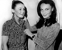 0140025 © Granger - Historical Picture ArchiveDIANE OF FUSTENBERG.   Diane von Furstenberg altering a model on february 27, 1976. Full credit: AGIP - Rue des Archives / Granger, NYC -- All rights reserved.