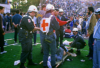 0140234 © Granger - Historical Picture ArchiveDRAME DU HEYSEL.   The Heysel Stadium disaster occurred due to football hooliganism in which a retaining wall of the Heysel Stadium in Brussels collapsed on May 29, 1985 during a football match between Liverpool F.C. from England and Juventus F.C. from Italy. Full credit: AGIP - Rue des Archives / Granger, NYC -- All Rights Reserved.