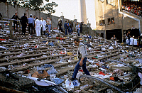 0140237 © Granger - Historical Picture ArchiveDRAME DU HEYSEL.   The Heysel Stadium disaster occurred due to football hooliganism in which a retaining wall of the Heysel Stadium in Brussels collapsed on May 29, 1985 during a football match between Liverpool F.C. from England and Juventus F.C. from Italy. Full credit: AGIP - Rue des Archives / Granger, NYC -- All Rights Reserved.