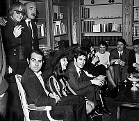 0140351 © Granger - Historical Picture ArchiveEDDIE BARCLAY.   Eddy Barclay during party for the stars he produces l-r singer Dave, Guy Marchand, Patricia Carli, Guy bedos, Charles Aznavour, Suzanne Gabroello, Alain Barriere et Franck Alamo january 16, 1968. Full credit: AGIP - Rue des Archives / Granger, NYC -- All rights reserved.