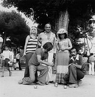 0140379 © Granger - Historical Picture ArchiveEDDIE BARCLAY, SOPHIE DAUMIER, JASSILINI FARID.   Eddie Barclay, Sophie Daumier, Jassilini Farid during a game of boules, 1974. Full credit: AGIP - Rue des Archives / Granger, NYC -- All Rights Reserved.