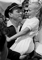 0140386 © Granger - Historical Picture ArchiveEDDIE CONSTANTINE.   Actors Eddy Constantine and Brigitte Fossey when child at Cannes film festival april 28, 1955. Full credit: AGIP - Rue des Archives / Granger, NYC -- All right