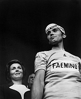 0140408 © Granger - Historical Picture ArchiveEDDY MERCKX.   Francine Amaury (l) congratulating Eddy Merckx winner of Tour de France january 3, 1977. Full credit: AGIP - Rue des Archives / Granger, NYC -- All rights reserved.