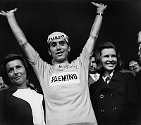 0140409 © Granger - Historical Picture ArchiveEDDY MERCKX.   Francine Amaury (l) congratulating Eddy Merckx winner of Tour de France with his wife (l) january 3, 1977. Full credit: AGIP - Rue des Archives / Granger, NYC -- All Rights Reserved.