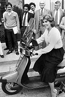0140477 © Granger - Historical Picture ArchiveEDITH CRESSON.   Edith Cresson, french minister of foreign trade, on the new Peugeot scooter on june 1st, 1983 outside her ministry. Full credit: AGIP - Rue des Archives / Granger, NYC -- All Rights Reserved.
