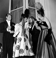 0140608 © Granger - Historical Picture ArchiveEDWIGE FEUILLERE.   actors Edwige Feuillere Christian Bevard and Jean Marais at ball june 1947. Full credit: AGIP - Rue des Archives / Granger, NYC -- All rights reserved.