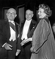 0140612 © Granger - Historical Picture ArchiveEDWIGE FEUILLERE.   French president Vincent Auriol, Rene Mayer and Edwige Feuillere june 22, 1951 at the chancellery night. Full credit: AGIP - Rue des Archives / Granger, NYC -- All Rights Reserved.