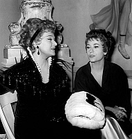 0140623 © Granger - Historical Picture ArchiveEDWIGE FEUILLERE AND ANNIE GIRARDOT.   French actresses Edwige Feuillere and Annie Girardot on set of film Famous Love Affairs april 11, 1961. Full credit: AGIP - Rue des Archives / Granger, NYC -- All rights reserved.