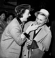0140625 © Granger - Historical Picture ArchiveEDWIGE FEUILLERE AND ELVIRE POPESCO.   actress Edwige Feuillere congratulating Elvire Popesco for theatre prize april 18, 1950. Full credit: AGIP - Rue des Archives / Granger, NYC -- All Rights Reserved.