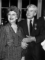 0140628 © Granger - Historical Picture ArchiveEDWIGE FEUILLERE AND JEAN MARAIS.   Edwige Feuillere and Jean Marais after giving of Legion of Honour to Jean Marais on october 17, 1983. Full credit: AGIP - Rue des Archives / Granger, NYC -- All Rights Reserved.