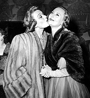 0140629 © Granger - Historical Picture ArchiveEDWIGE FEUILLERE AND MICHELE MORGAN.   French actresses Edwige Feuillere and Michele Morgan at premiere of play La belle que voila april 20, 1950. Full credit: AGIP - Rue des Archives / Granger, NYC -- All rights reserved.