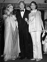 0140715 © Granger - Historical Picture ArchiveELIETTE VON KARAJAN, CURD JURGENS AND SA FEMME.   Curd Jurgens with his wife Simone (r) and Eliette Von Karajan at premiere of Moulin Rouge cabaret revue april 11, 1967. Full credit: AGIP - Rue des Archives / Granger, NYC -- All rights rese