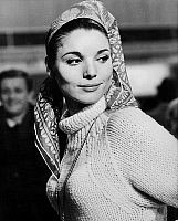 0140838 © Granger - Historical Picture ArchiveELSA MARTINELLI.   actress Elsa Martinelli wearing a fisherman's Jersey and a headscarf august 15, 1963. Full credit: AGIP - Rue des Archives / Granger, NYC -- All rights reserved.
