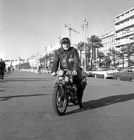 0140914 © Granger - Historical Picture ArchiveEMILE FOURGERON.   Emile Fourgeron (78) made a 4000kms tour in Europe riding his motorbike, here in Nice december 21, 1967. Full credit: AGIP - Rue des Archives / Granger, NYC -- All Rights Reserved.