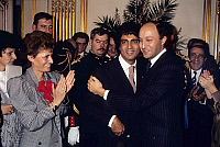 0141031 © Granger - Historical Picture ArchiveENRICO MACIAS.   French singer Enrico Macias receiving the cross of chevalier of the Legion of Honour from Laurent Fabius (french prime minister) on february 1st, 1985 in presence of his wife Susie Macias. Full credit: AGIP - Rue des Archives / Granger, NYC -- All rights reserved.