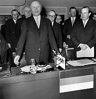 0141058 © Granger - Historical Picture ArchiveENTREE OF THE RFA DANS L'OTAN IN 1955.   Konrad Adenauer (1876-1967) german chancellor (1949-1963) made a speech after the admission of the Federal Republic of Germany (FRG) in the NATO with behind him Walter Hallstein state secretary of the foreign affair, during a session of a atlantic council in the palace of Chaillot in Paris, on may 6th, 1955. Full cre