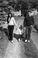 0141105 © Granger - Historical Picture ArchiveERIC TABARLY.   french navigator Eric Tabarly with fiancee Danielle (20) and their daughter fille Ahn (2) walking at La Trinite-Sur-Mer april 22, 1968. Full credit: AGIP - Rue des Archives / Granger, NYC -- All rights reserved.