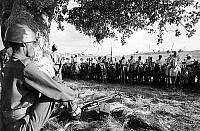 0141154 © Granger - Historical Picture ArchiveETHIOPIA.   Amhara horsemen and armed guards around Gondar at Tississat Falls, Tana Lake, during a visit by Queen Elizabeth II and Philip Mountbatten in Ethiopia February 7, 1965. Full credit: AGIP - Rue des Archives / Granger, NYC -- All Rights Reserved.
