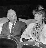 0141190 © Granger - Historical Picture ArchiveEUGENE IONESCO AND ANNIE DUCAUX.   Eugene Ionesco speaking during a rehearsal with Annie Ducaux who is Adelaide in his play La soif et la faim at the Comedie-Francaise on february 25, 1966. Full credit: AGIP - Rue des Archives / Granger, NYC -- All Rights Reserved.